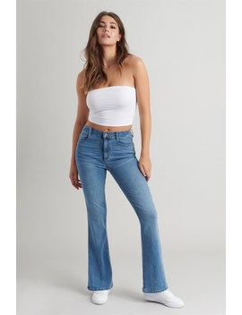 High Rise Flare Jean   West End Blue by Garage