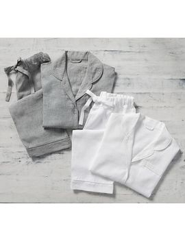 Belgian Flax Linen Piped Pajamas, Small, White by Pottery Barn