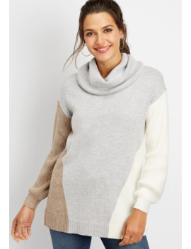 Colorblock Cowl Neck Tunic Pullover by Maurices