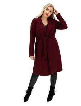 Wine Crepe Belted Duster Jacket by Simply Be