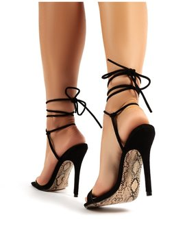 Chic Black Lace Up Snakeskin Sole Stiletto Heels by Public Desire