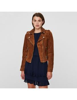 Short Suede Biker Jacket With Zip Fastening And Pockets by Vero Moda