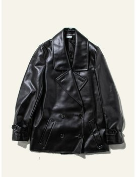 Double Breast Synth Leather Coat by Comme Des Garçons Homme Plus