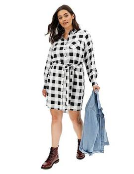 Mono Check Tie Waist Shirt Dress by Simply Be