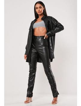 Black Co Ord Faux Leather Split Hem Trousers by Missguided