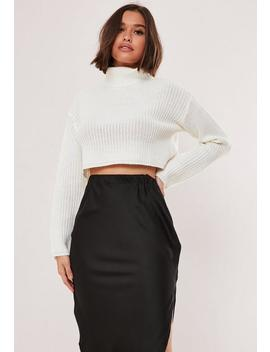 White Roll Neck Cropped Knitted Jumper by Missguided