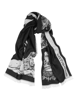 King And Queen Skull Intarsia Wool Scarf by Alexander Mc Queen