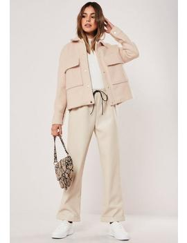 Nude Pocket Brushed Shacket by Missguided