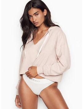 New! Sueded Fleece Crop Hoodie by Victoria's Secret