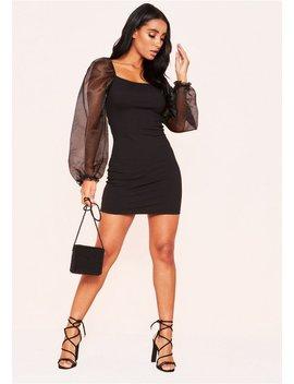 Noella Black Mesh Puff Sleeve Mini Dress by Missy Empire