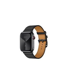 Apple Watch Hermès Gps + Cellular, 44mm Apple Watch Hermès Space Black Stainless Steel Case With Noir Swift Leather Single Tour by Apple