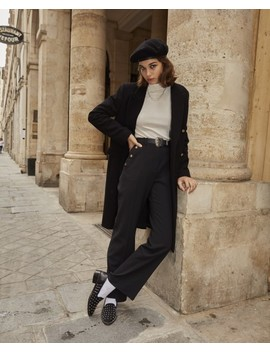 Flared Black Trousers With Slit & High Waist by The Kooples