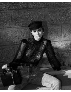 Black Lace Top With High Neck With Lace Tie by The Kooples