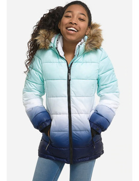 Girls Puffer Coat Faux Fur High Snow Boots by Justice