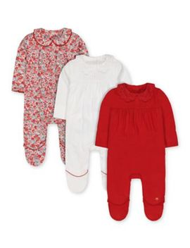 Red, White Spot And Floral Collared Sleepsuits   3 Pack by Mothercare