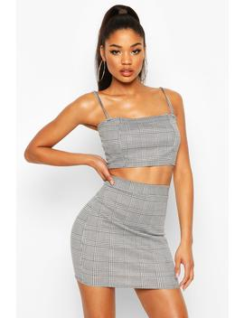 Dogtooth Check Strap Crop Mini Skirt Co Ord Set by Boohoo