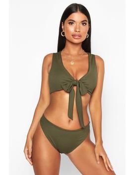 Petite Tie Front Rib Bikini Top by Boohoo