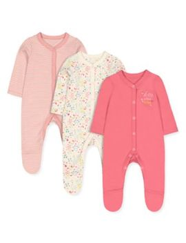 Pink Little Friends Sleepsuits   3 Pack by Mothercare