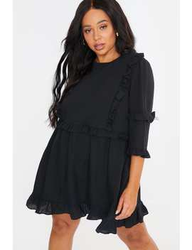 Curve Lorna Luxe Black 'girl's Girl' Ruffle Mini Dress by In The Style