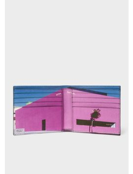 Men's Black Leather 'los Angeles Shop' Print Interior Billfold Wallet by Paul Smith
