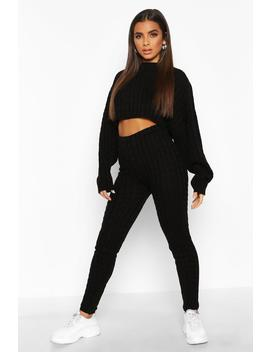 Box Crop Knitted Cable Set by Boohoo