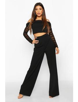 Mesh Bardot Crop And Wide Leg Trouser Co Ord by Boohoo