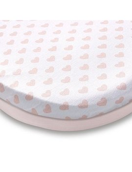Pack Of 2 Pink Heart 100% Cotton Jersey Moses Basket Fitted Sheets by Dunelm