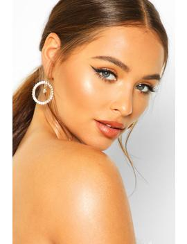 Open Circle Earrings With Diamante Pendant by Boohoo