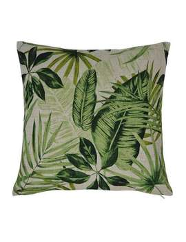 Green Leaf Printed Cushion Cover by Dunelm