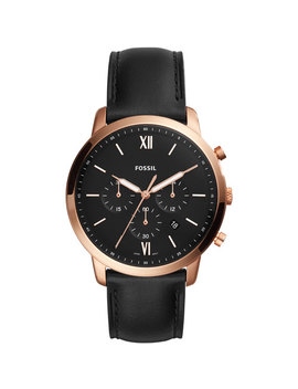 Fossil Neutra 44mm Men's Chronograph Casual Watch   Black/Rose Gold by Best Buy