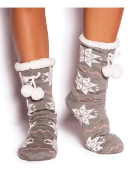 Marshmallow Dream Socks   Grey Print by Bras N Things