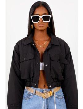 Black Cropped Puffer Jacket by Sorella