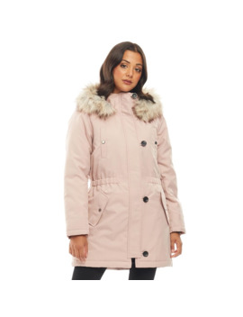 Only Womens Iris Fur Parka Rose Dust by Only