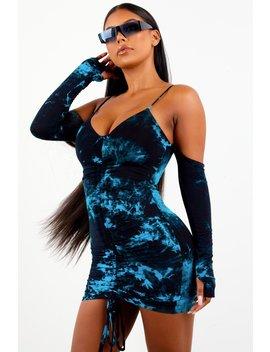 Teal Ruched Tie Dye Mini Dress by Sorella