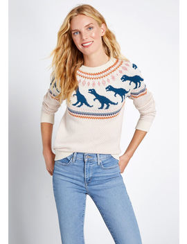 Rawr Ambition Dinosaur Pullover Sweater by Modcloth