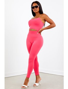 Pink High Waist Capri Legging Set by Sorella