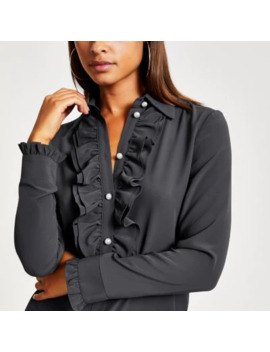 Grey Pearl Button Frill Front Shirt by River Island