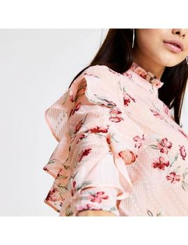 Pink Floral Long Sleeve Frill Top by River Island
