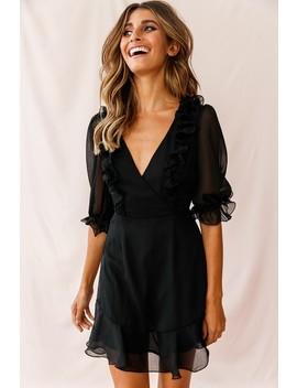 Misty Half Puff Sleeve Ruffle Detail Dress Black by Selfie Leslie