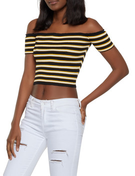 Ribbed Knit Striped Off The Shoulder Top by Rainbow