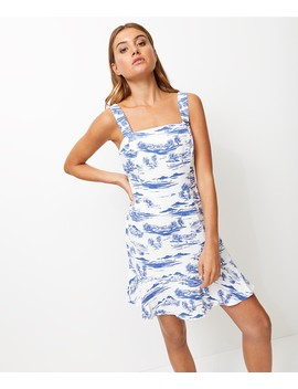 Printed Flippy Hem Linen Mini Dress by Sportsgirl