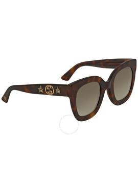Brown Gradient Square Sunglasses Gg0208 S 003 49 by Gucci