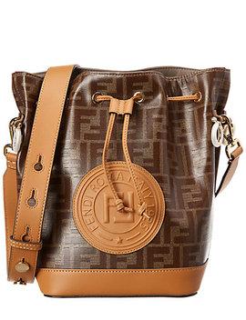 Fendi Mon Tresor Ff Leather & Canvas Bucket Bag by Fendi