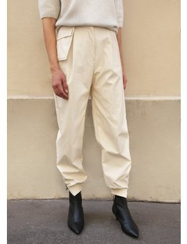 Ivory Faux Leather Jogger Pants With Utility Belt by The Frankie Shop
