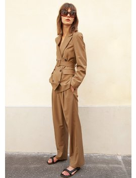Double Breasted Belted Blazer In Khaki Brown by The Frankie Shop