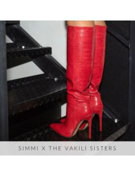 Delia Red Croc Print Stiletto Knee Boots by Simmigirl