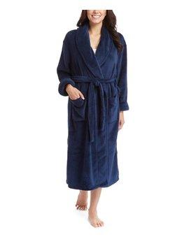 Navy Fleece Robe   Women by Leveret