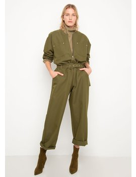 Army Green Collarless Utility Jumpsuit by The Frankie Shop