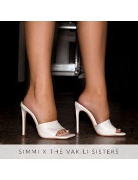 Amalie White Snake Print Stiletto Mule Heels by Simmigirl