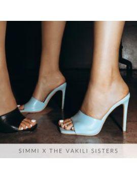 Amalie Blue Stiletto Mule Heels by Simmigirl